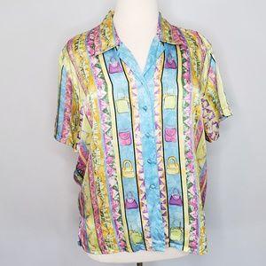 Corey B. Silk multicolor short sleeve Top Sz 1X